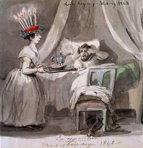 """""""Luciafirande på Koberg i Västergötland 1848"""", illustrazione di Fritz von Dardel"""