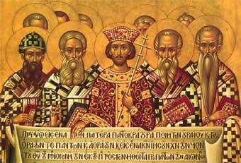 Costantino e i vescovi del Concilio tengono in mano una copia del nuovo Credo