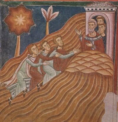 """Gli ambasciatori di Costantino supplicano disperatamente San Silvestro: """"ti prego, togli i pois al nostro re!"""""""