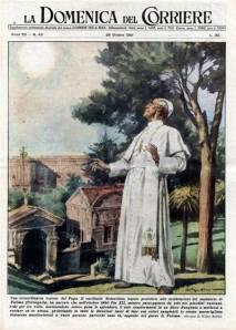 """Ancora una volta sulla copertina della """"Domenica del Corriere"""", Pio XII è stupito dal miracolo del sole mentre passeggia nei giardini del Vaticano."""