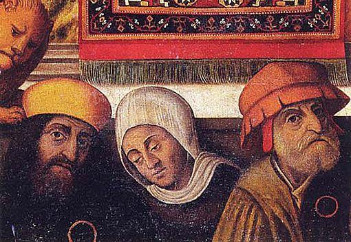"""La famiglia del mercante ebreo Daniel Norsa, raffigurata ai piedi di un affresco conservato nella chiesa di Sant'Andrea in Mantova. E' possibile notare il cerchio di colore giallo che gli Ebrei erano tenuti ad appuntare sul petto, e il berretto color zafferano che li identificava come """"giudei""""."""