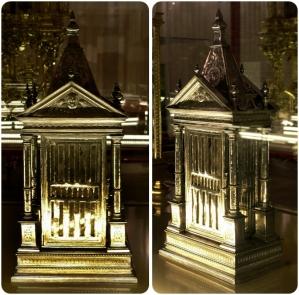 Reliquiario di santa Lucia, inizio XVII secolo, argento e mica. Coimbra, Museo Nacional de Machado de Castro. Fare click sull'immagine per visualizzare la foto ingrandita.