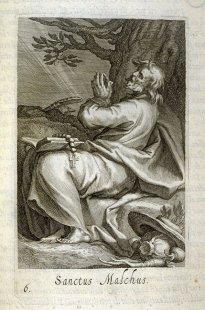 San Malco, ormai maturo, gode finalmente la vita di tranquillità claustrale che aveva sempre desiderato,  in un'incisione di Jan Sadeler