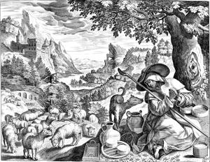 San Malco porta al pascolo le pecore di suo padre, in un'incisione di Jan Sadeler