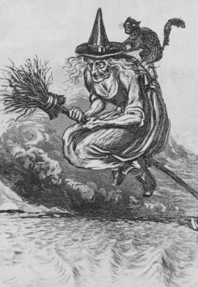 15th century --- Engraving of a Witch Flying on a Broomstick --- Image by © Corbis