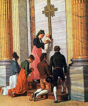 """Una mamma offre alla sua famiglia un assaggio """"di Paradiso"""", di fronte alla Porta Santa che sta per essere aperta, nell'anno giubilare 1850"""