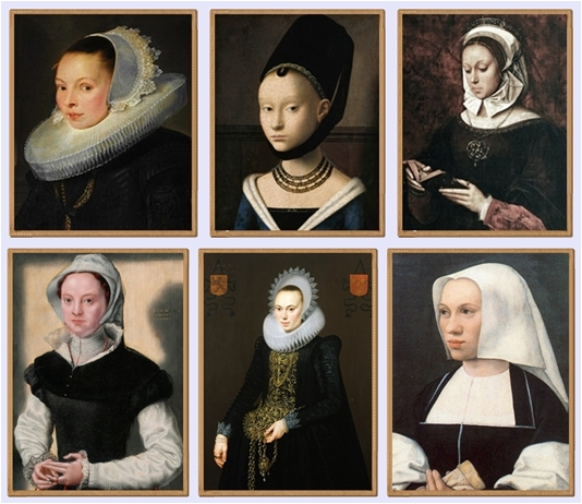 Non è che sia andata a cercarmeli col lanternino: i ritratti femminili ad opera dei pittori fiamminghi ci restituiscono una certa... ehm... fissità, nel modo di abbigliarsi