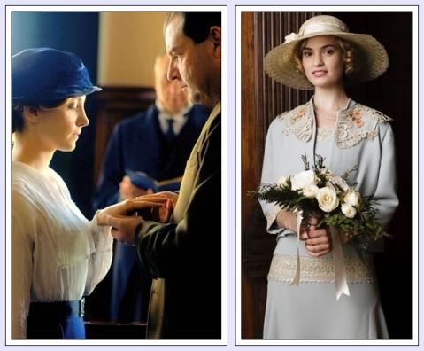 Consentitemi un omaggio a Downton Abbey - uno dei miei telefilm preferiti - nel sottolineare il lavoro egregio svolto dai costumisti: ecco qui due spose, di diversa estrazione sociale, indossare abiti decisamente colorati nel giorno del loro matrimonio