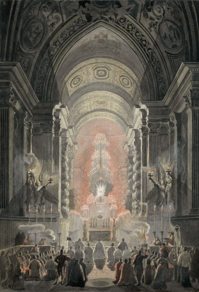 Una installazione di Bernini durante le Quarantore presso la Cappella Paolina - immagine da Internet