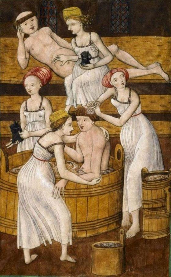 Ecco invece due monachelli che - come dire - se ne approfittano un po' troppo, in un codice miniato boemo (1490-1510 ca.)