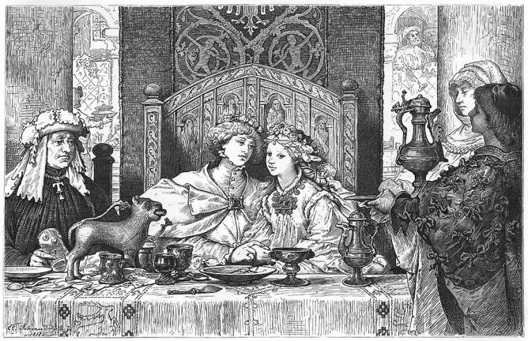 a-medieval-couple-at-their-wedding-mary-evans-picture-library