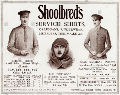 Advert For Shoolbred's Service Clothing 1915