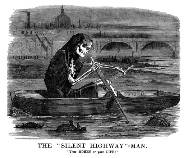 Victorian-Health-London-Cartoons-Silent-HighwayMan-River-Thames-Punch-Magazine-1858-07-10-15